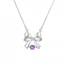 Citigems 10K White Gold Dancing Ribbon Benetto Necklace (Chain Included)