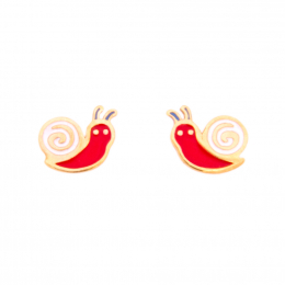 Citigems 916 Gold Red Snail Earrings