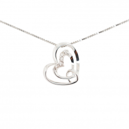 Citigems 10K White Gold Joyful Heart Pendant