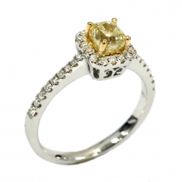 Citigems 18K White Gold Radiant Yellow Diamond Ring