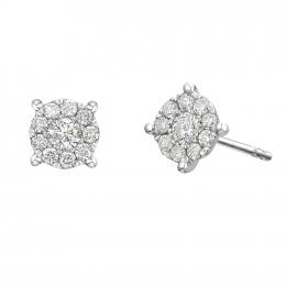 Citigems 10K White Gold Round Avoire Diamond Earrings