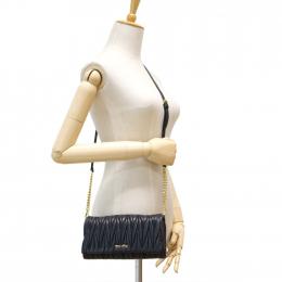 Miu Miu Matelasse Leather Black Clutch Sling Bag