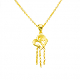 Citigems 999 Pure Gold Double Heart Dangling Pendant