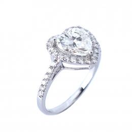 Citigems 18K White Gold Heart-Shaped Halo Diamond Ring