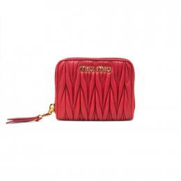 Miu Miu Matelasse Leather Red Mini Wallet