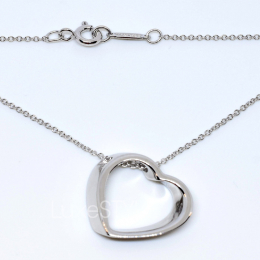 Pre-Loved Tiffany & Co. Slanted Heart Silver Necklace