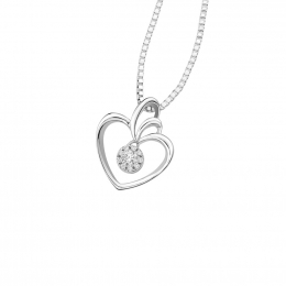 Citigems 10K White Gold Heart Avoire Diamond Pendant