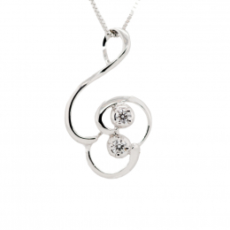 Citigems 18K White Gold Perfect Love Diamond Pendant 38880