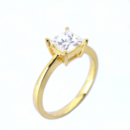 Citigems 18K Yellow Gold Square-Shaped Diamond Ring