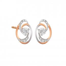 Citigems 10K Rose & White Gold Stylish Oval Elistar Diamond Earrings