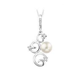 Citigems 10K White Gold Abstract Pearle Pendant