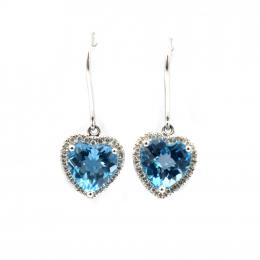 Citigems White Gold Blue Topaz Diamond Earrings