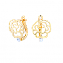 Citigems 916 Gold Rose Earrings