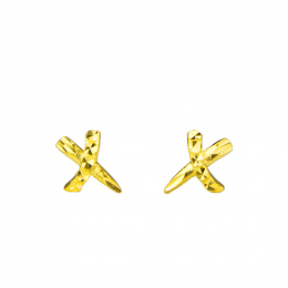 Citigems 999 Gold Criss Cross Earrings