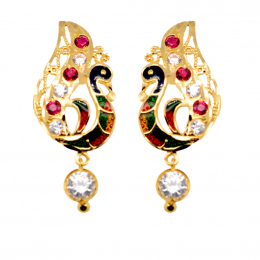 Citigems 916 Gold Dangling Peacock With Coloured Stones Earrings C