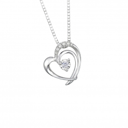 Citigems 10K White Gold Double Heart Diamond Pendant