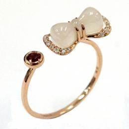 Citigems 18K Rose Gold Nephrite With Diamond Ring