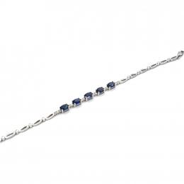 Citigems White Gold Sapphire Diamond Bracelet