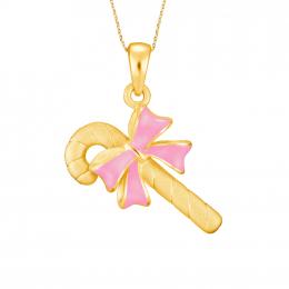 Citigems 999 Pure Gold Candy Cane Pendant