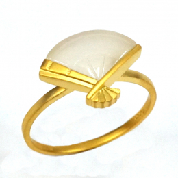 Citigems 18K Yellow Gold Nephrite Ring 92267