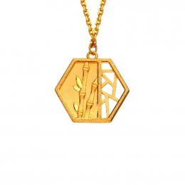 Citigems 999 Pure Gold Oriental Bloom Hexagon Pendant