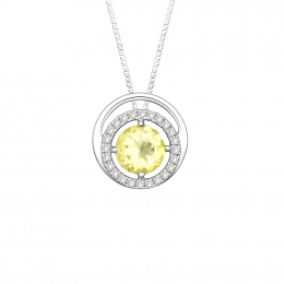 Citigems 14K White Gold Citrine Benetto Diamond Pendant