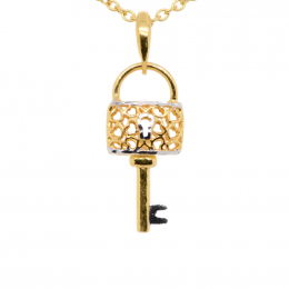 Citigems 916 Gold Key To Your Heart Pendant