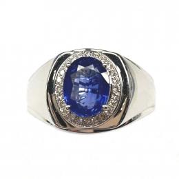 Citigems 18K White Gold Sapphire Diamond Men's Ring