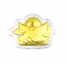 Citigems 999 Pure Gold 0.1g Mice and Ingot 金鼠献宝 Golden Treasure
