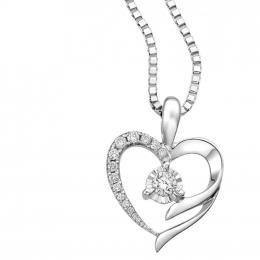 Citigems 10K White Gold Heart Starlite Diamond Pendant