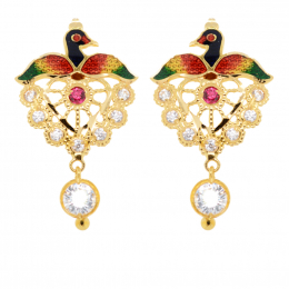 Citigems 916 Gold Dangling Peacock With Coloured Stones Earrings A