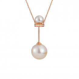 Citigems 18K Rose Gold Pearl Barbell Necklace