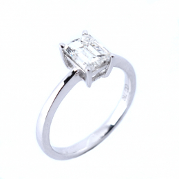 Citigems 18K White Gold Emerald Cut Diamond Ring