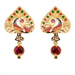 Citigems 916 Gold Dangling Peacock With Coloured Stones Earrings B