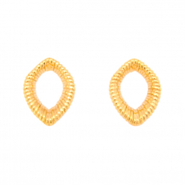 Citigems 916 Gold Fern Leaf Wire-Wrapped Earrings