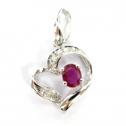Citigems White Gold Ruby Diamond Pendant