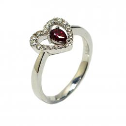 Citigems White Gold Ruby Diamond Ring