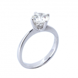 Citigems 18K White Gold 1.12CT Solitaire Ring