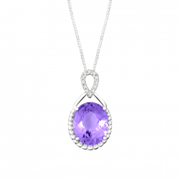 Citigems 10K White Gold Purple Amethyst Benetto Diamond Pendant