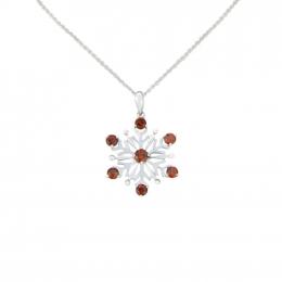 Citigems 10K White Gold January Birthstone Garnet Snowflake Pendant