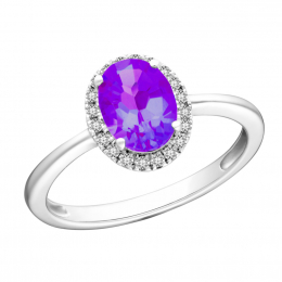Citigems 10K White Gold Amethyst Benetto Ring