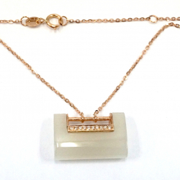 Citigems 18K Rose Gold Lock With Diamond Nephrite Necklace
