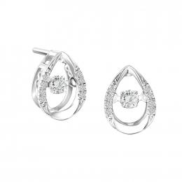 Citigems 10K White Gold Elistar Tango Dancing Diamond Earrings