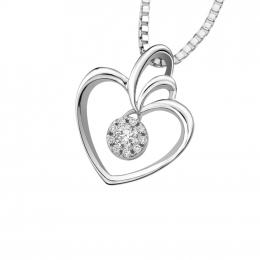 Citigems 10K White Gold Divine Heart Avoire Diamond Necklace