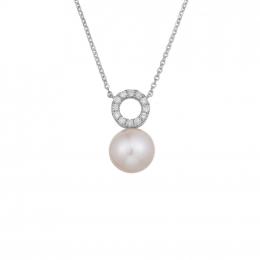 Citigems White Gold Pearl Diamond Pendant