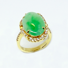 Citigems 18K Yellow Gold Cabochon Jadeite A Diamond Ring