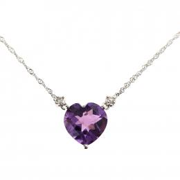 Citigems White Gold Amethyst Diamond Necklace