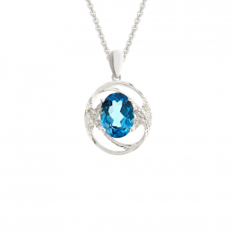 Citigems 10K White Gold Blue Topaz Benetto Pendant