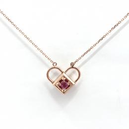 Citigems 18K Rose Gold Ruby Diamond Necklace