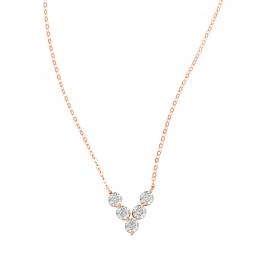 Citigems 18K Rose Gold V Shape Diamond Necklace